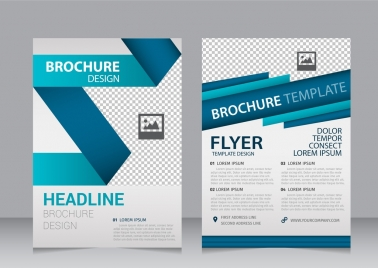 brochure template 3d folding style checkered pattern ornament