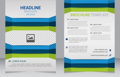 brochure template blue green edges 3d decoration