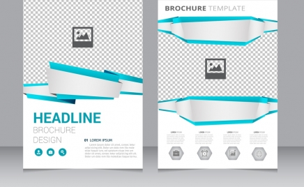 Brochure Template Checkered Blue Green Squares Ornament Free
