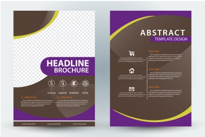 brochure template design with violet and checkered background