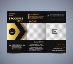 brochure template modern trifold design dark background