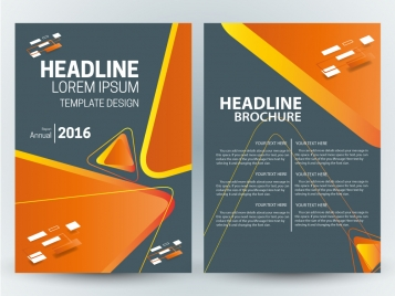 brochure template vector design with modern triangles illustration