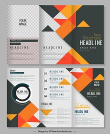 brochure templates colorful geometric decor trifold design