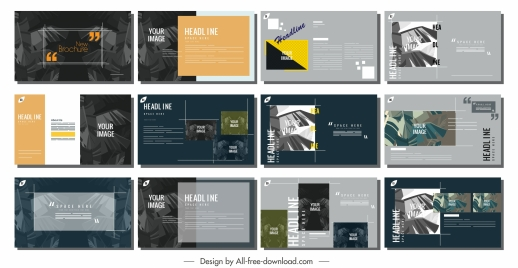 brochure templates dark leaves decor