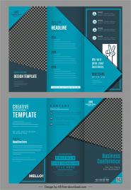 brochure templates trifold design dark blue checkered plain