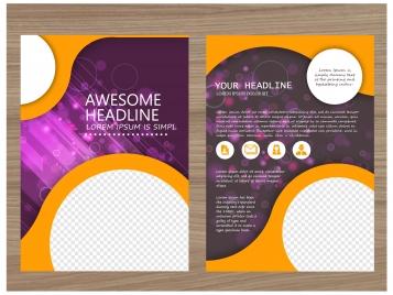 brochure vector design with bokeh violet background
