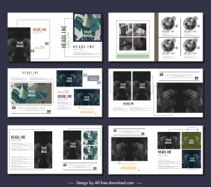 brochures templates contrast decor leaves sketch modern design
