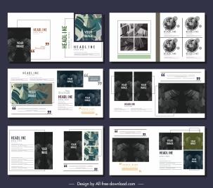 brochures templates contrast decor leaves sketch modern design