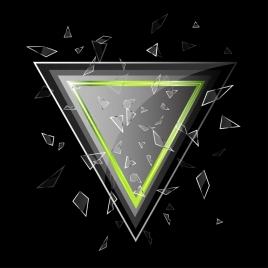 broken glass background shiny grey triangle dark design
