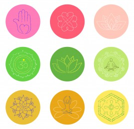 buddhism symbol set