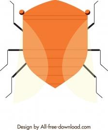 bug icon closeup symmetrical flat design