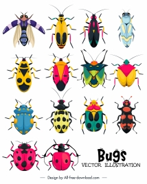bugs insects icons colorful symmetric design