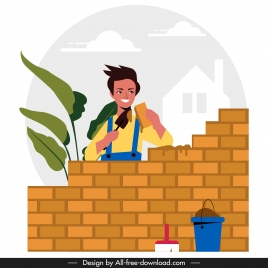 builder work painting colored cartoon design