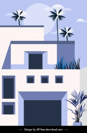 building exterior background colored flat sketch classic design