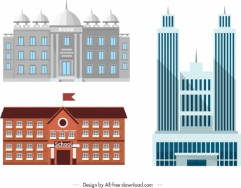 building front architecture icons colored modern design