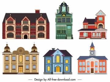 buildings icons classic european architecture sketch