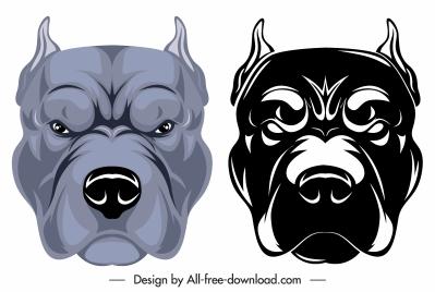 bulldog head icons colored black white sketch
