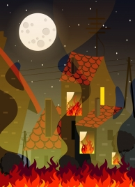 burnt house background fire building moonlight icons