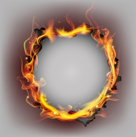 burnt paper background circle flame ornament