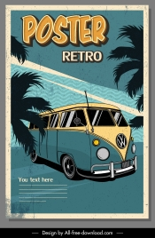 bus advertising poster colored vintage grunge decor