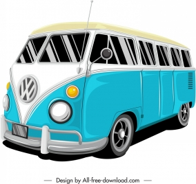 bus car template classical colored 3d sketch