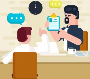 business background interview theme cartoon design