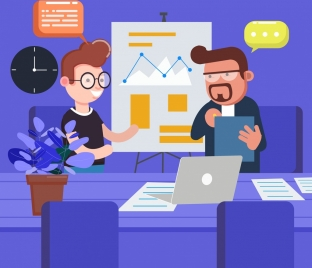 business background meeting theme cartoon characters