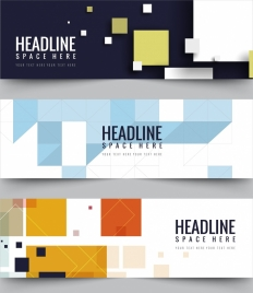 business banner sets abstract geometric design