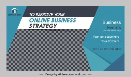 business banner template dark 3d design checkered decor