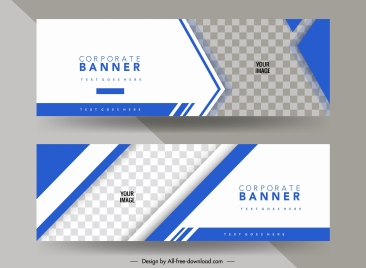 business banner template elegant bright blue checkered decor