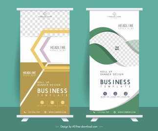 business banner templates elegant checkered decor vertical design