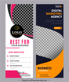 business banner templates modern elegant checkered curves decor