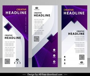 business banner templates modern violet white dynamic decor