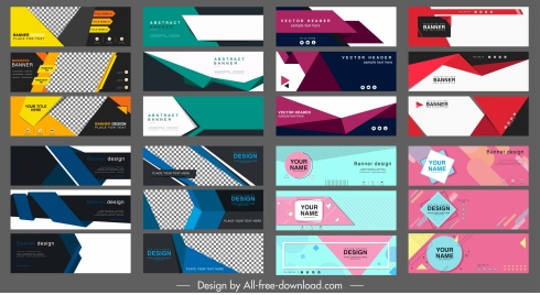 business banners collection modern colorful abstraction horizontal shapes