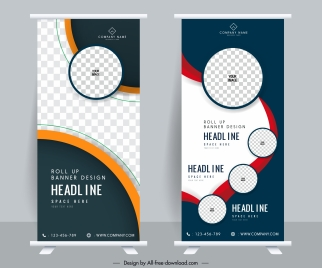 business banners templates modern vertical shape elegant checkered