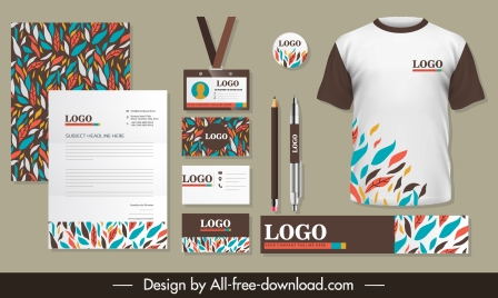 business branding identity sets colorful leaves decor