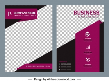 business brochure cover template elegant checkered decor