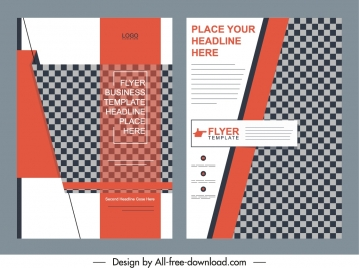 business brochure cover templates elegant checkered decor