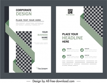 business brochure cover templates elegant checkered origami decor