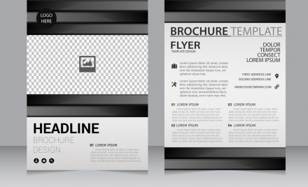 business brochure template black white checkered decoration