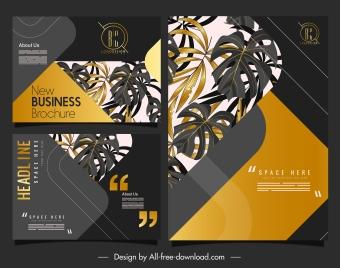 business brochure template luxury golden black leaves decor