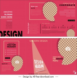 business brochure template modern flat pink checkered decor