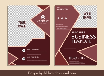 business brochure templates elegant dark checkered geometric shapes