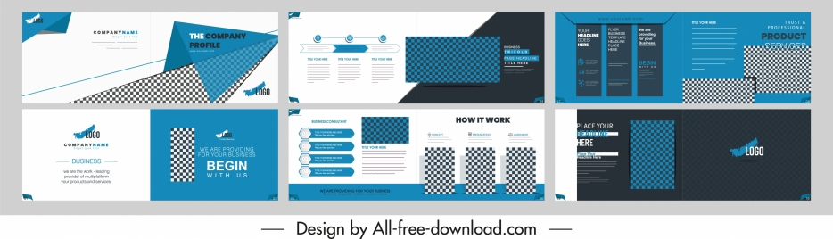 business brochure templates elegant modern checkered decor