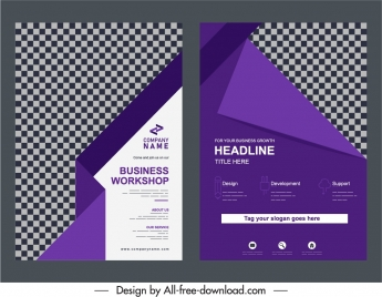 business brochure templates elegant violet checkered origami decor