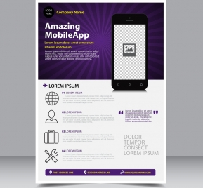 business brochure violet ray background mobile app icon