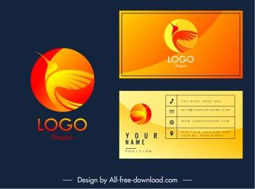 business card logotype flying bird sketch
