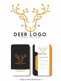 business card logotype reindeer head sketch symmetric handdrawn