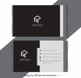 business card template 3d cubic logotype dark design