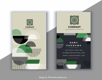 business card template abstract half circles decor